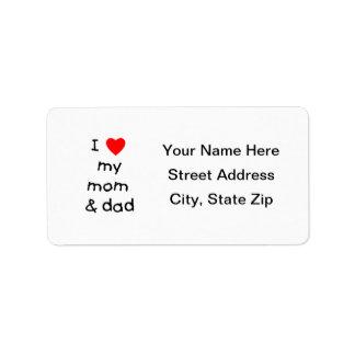 I love my mom & dad label