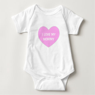 """I LOVE MY MOMMY"" Cute Pink Heart Baby Baby Bodysuit"