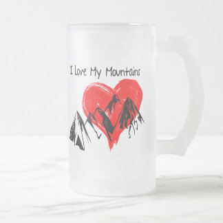 I Love My Mountains! Frosted Glass Beer Mug