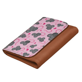 I love my mouse pattern in pink wallets