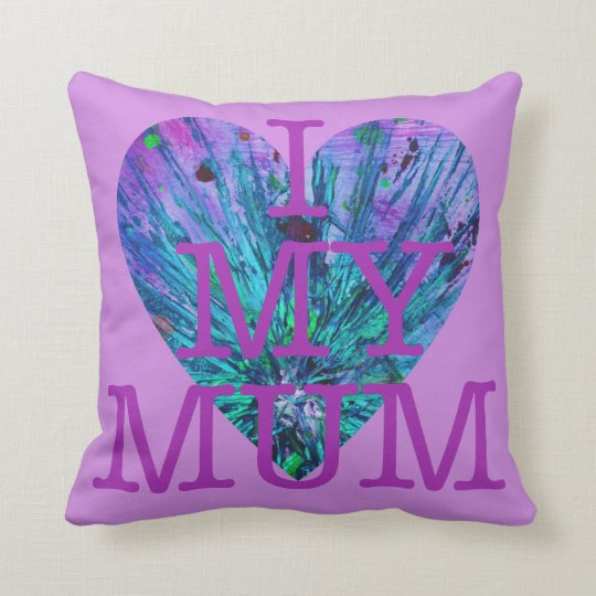 I Love My Mum Lilac Mothers Day Love Heart Design Throw Pillow