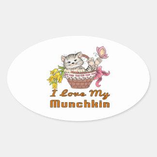 I Love My Munchkin Oval Sticker