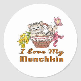 I Love My Munchkin Round Sticker