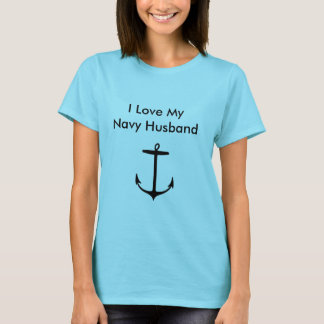 I Love My Navy Husband Baby Blue T-shirt