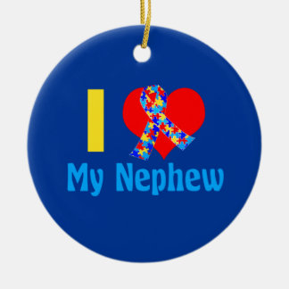 I Love My Nephew Autism Awareness Blue Round Ceramic Ornament