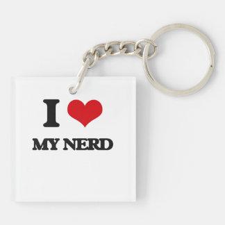 I Love My Nerd Double-Sided Square Acrylic Keychain