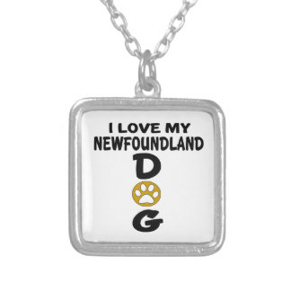I Love My Newfoundland Dog Designs Silver Plated Necklace