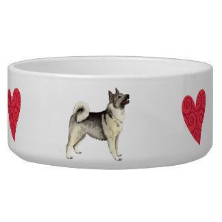 I Love my Norwegian Elkhound Dog Water Bowl
