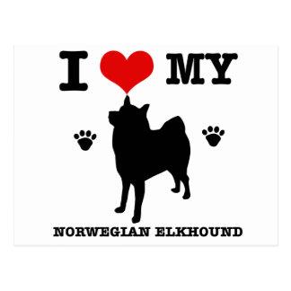I Love my Norwegian Elkhound Postcard