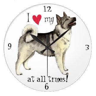 I Love my Norwegian Elkhound Wallclock