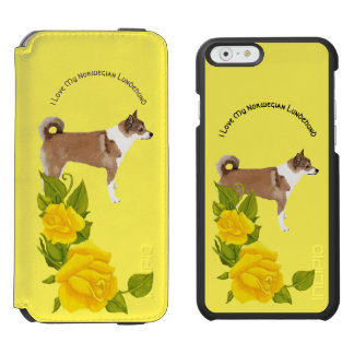 I Love My Norwegian Lundehund and Yellow Roses Incipio Watson™ iPhone 6 Wallet Case