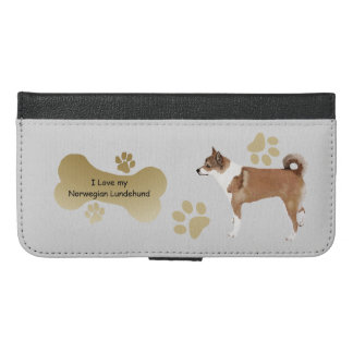 I Love my Norwegian Lundehund w/bone-n-paws iPhone 6/6s Plus Wallet Case