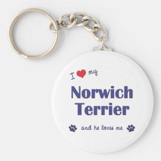 I Love My Norwich Terrier (Male Dog) Basic Round Button Keychain