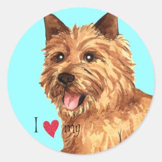 I Love my Norwich Terrier Round Sticker