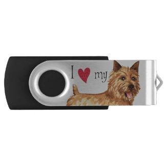 I Love my Norwich Terrier Swivel USB 3.0 Flash Drive