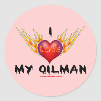 I Love My Oilman,Burning Heart,Oil Field Wife,Oil Classic Round Sticker