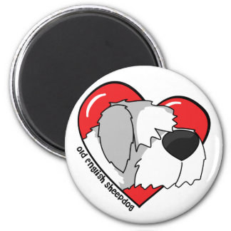 I Love my Old English Sheepdog 2 Inch Round Magnet
