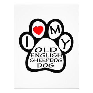 I Love My Old English Sheepdog. Customized Letterhead