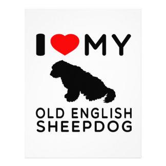 I Love My Old English Sheepdog. Personalized Letterhead