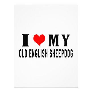 I Love My Old English Sheepdog Letterhead Design