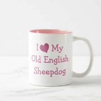 I Love My Old English Sheepdog Two-Tone Coffee Mug