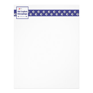 I Love My Old English Sheepdogs (Multiple Dogs) Personalized Letterhead