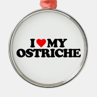 I LOVE MY OSTRICH Silver-Colored ROUND ORNAMENT