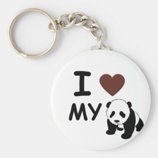 I LOVE MY PANDA BASIC ROUND BUTTON KEYCHAIN
