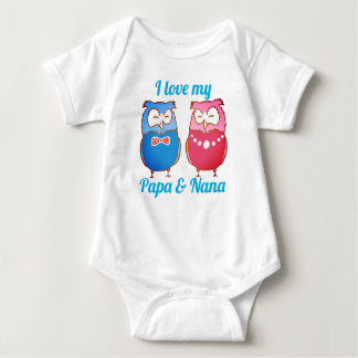 """I Love My Papa and Nana"" Owl Pair Baby Bodysuit"