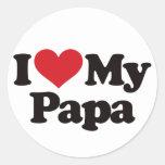 I Love My Papa Round Sticker