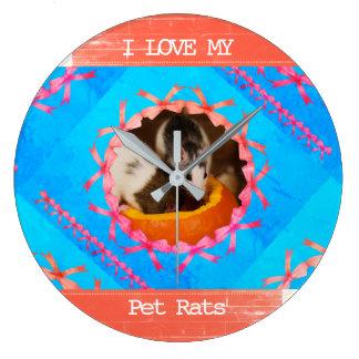 I Love my Pet Rats Photo Large Clock