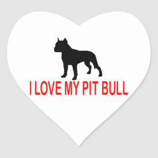 I LOVE MY PIT BULL 2730 HEART STICKER