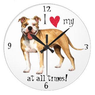 I Love my Pit Bull Terrier Large Clock