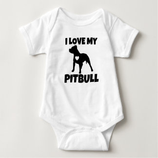 I Love my Pitbull Dog baby shirt