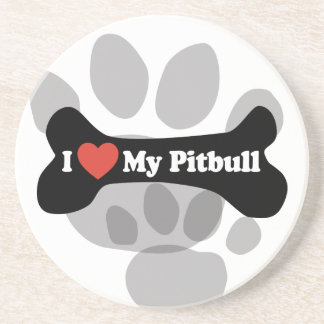 I Love My Pitbull - Dog Bone Coaster