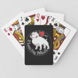 I Love My Pitbull Dog Playing Cards
