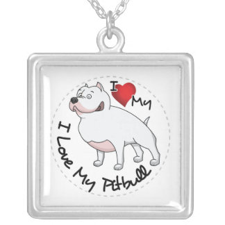 I Love My Pitbull Dog Silver Plated Necklace