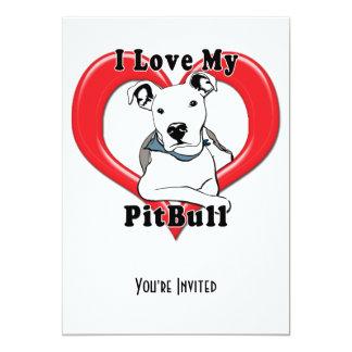 "I Love My PitBull Logo 5"" X 7"" Invitation Card"