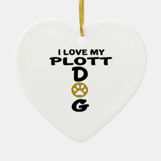 I Love My Plott Dog Designs Ceramic Heart Ornament