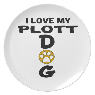 I Love My Plott Dog Designs Party Plates