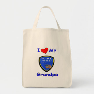 I Love My Police Grandpa Grocery Tote Bag