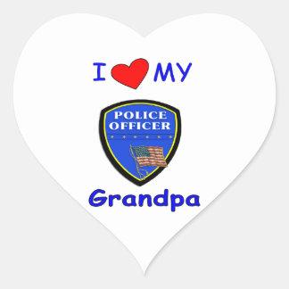 I Love My Police Grandpa Heart Sticker