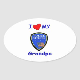 I Love My Police Grandpa Oval Sticker