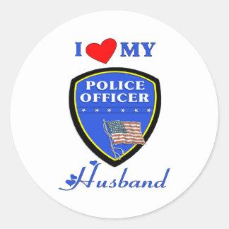 I Love My Police Husband Round Sticker