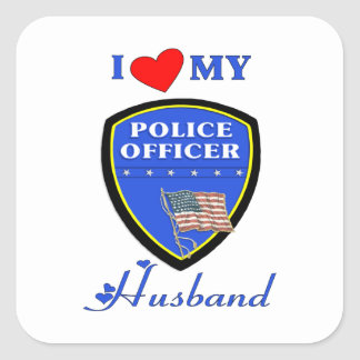 I Love My Police Husband Square Sticker