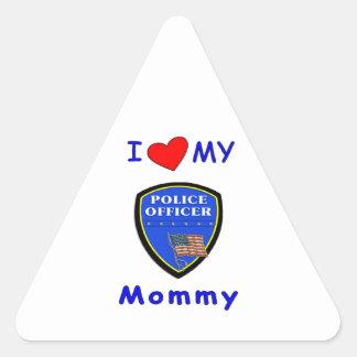 I Love My Police Mommy Triangle Sticker