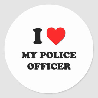 I love My Police Officer Round Sticker