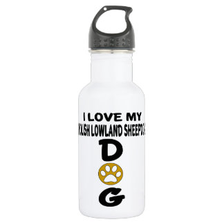 I Love My Polish Lowland Sheepdog Dog Designs 532 Ml Water Bottle