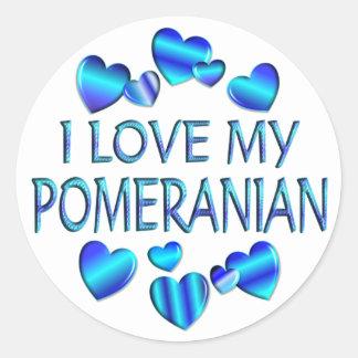 I Love My Pomeranian Classic Round Sticker