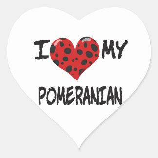 I Love My Pomeranian Heart Sticker